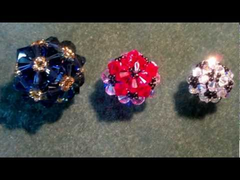 Beading4perfectionists : beaded bicone ball (soccerball) with Swarovski beads, beading tutorial