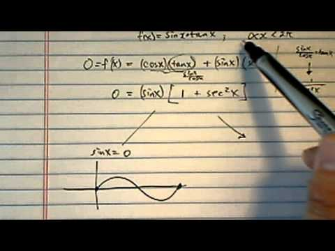 Slope of the Tangent:  find x so the slope of the tangent to f(x)=sinxtanx is zero.