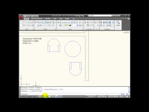 AutoCAD Tutorials - Using the ROTATE Command
