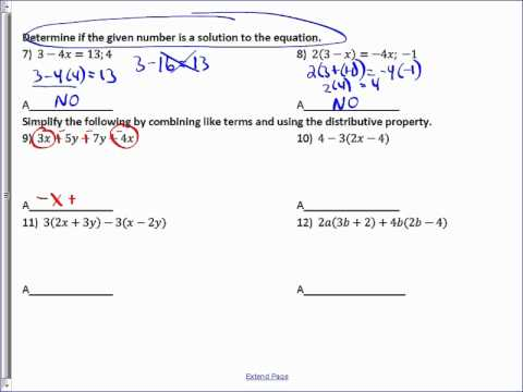 Adding Like Terms, Distributive Property and Solutions to Equations