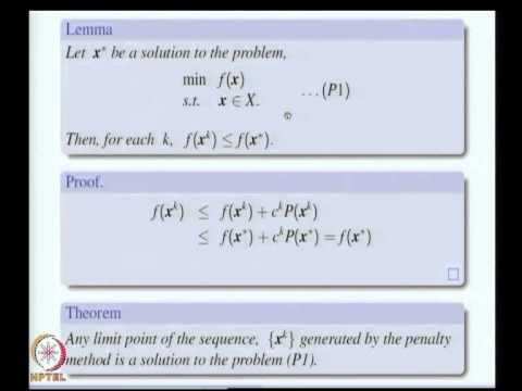Mod-10 Lec-40 Barrier and Penalty Methods, Augmented Lagrangian Method and Cutting Plane Method