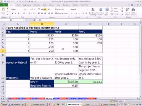 Excel Finance Class 71: Investment Criteria: Payback Rule