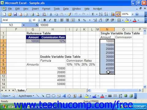 Excel 2003 Tutorial Data Tables Microsoft Training Lesson 29.1