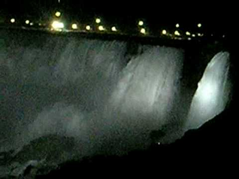 Niagara Falls View at Night with White Lights