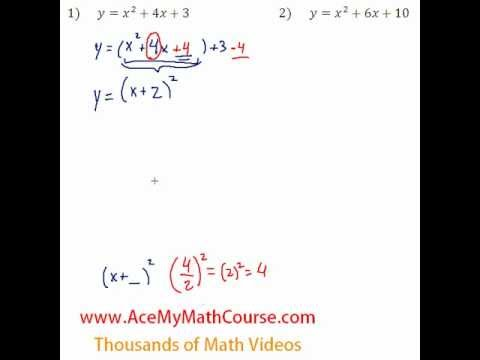Quadratics - Finding the Vertex Question #1