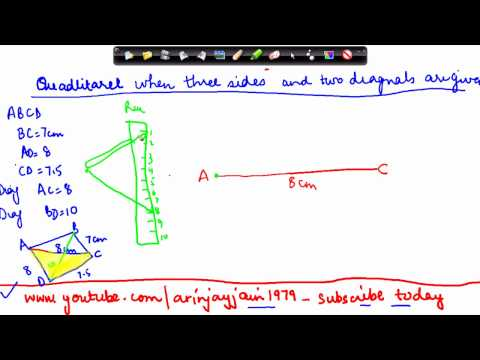 124-Mathematics Class VIII - Quadrilateral construction with three sides and two diagnols given