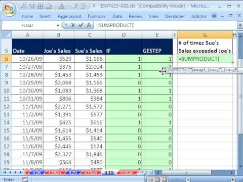 Excel Magic Trick 430: Count Sales Numbers Greater Than Hurdle (GESTEP function)