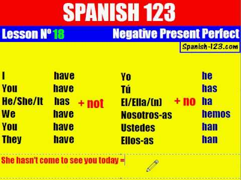 Class 18. Present Perfect Negative in spanish.