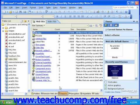 FrontPage Tutorial Applying a Theme to a Web Site Microsoft Training Lesson 5.1