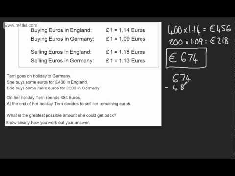 GCSE Maths - Basic currency conversion - Linked Pair Pilot AQA (Unit A1)
