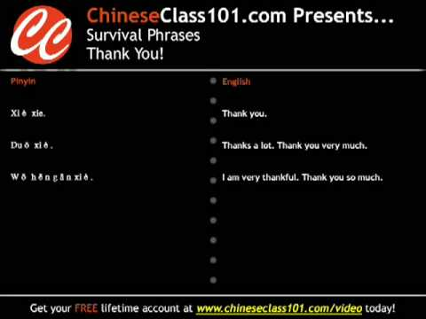 Learn Chinese - Survival phrases #1 - Thank you