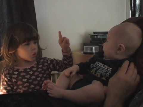 Fireese (4) sings & signs the ABCs to her brother (3 mo)