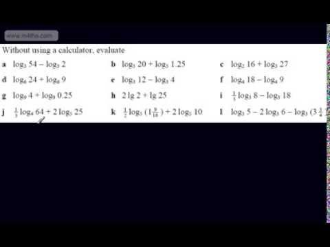 (6) C2 Logarithms Playlist -Evaluating Logs using log laws
