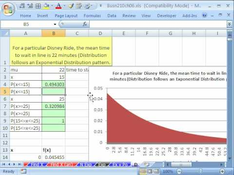 Excel Statistics 73: Exponential Probability EXPONDIST function
