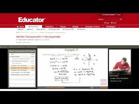 Trigonometry: Tangent Secant Identity (Given Tan find Sec)