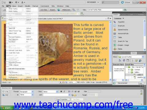 Dreamweaver CS5 Tutorial The Designer View Workspace Menu Bar Basics Adobe Training Lesson 1.2