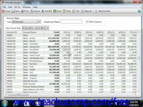 Peachtree Tutorial Entering Account Budgets 2007 2011 Sage Training Lesson 3.7