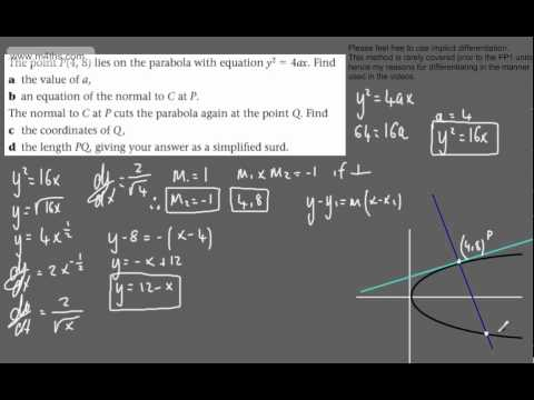 (16) FP1 - The Parabola and Hyperbola (exam question on normal to parabola)