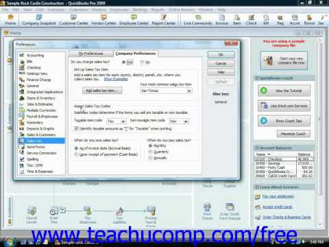 QuickBooks Tutorial Setting Sales Tax Preferences Intuit Training Lesson 4.5