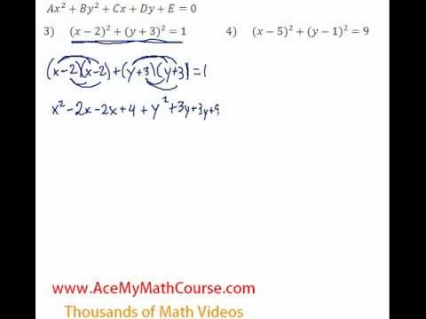 Conics - Standard to General Form - Question #3
