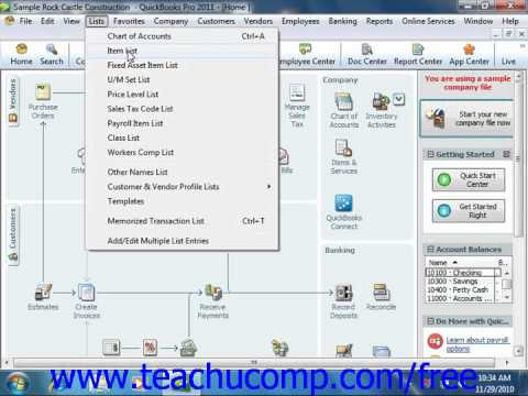 QuickBooks 2011 Tutorial The Menu Bar and Keyboard Shortcuts Intuit Training Lesson 1.3