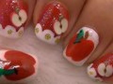 Apple Nail Art / Arte para las uñas con diseño de manzana