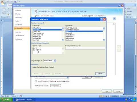 Word 2007 Tutorial 3 - Making Customized Keyboard Shortcuts
