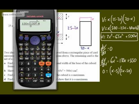 (f) Optimisation Core 2 Example 6 (Box Problem) C2 maximizing optimization calculus