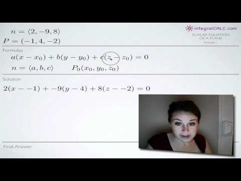 Scalar Equation of a Plane Example 1