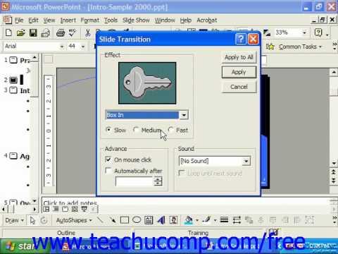 PowerPoint 2003 Tutorial Adding Transition Animation Speed 2000 & 97 Microsoft Training Lesson 17.5