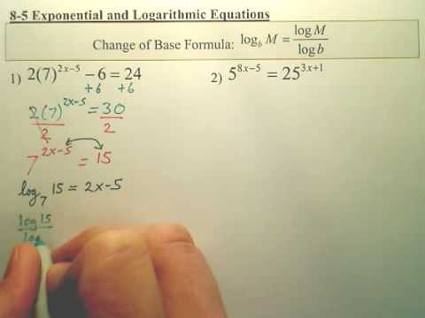 8.5a p1 Exponential and Logarithmic Equations  Algebra 2