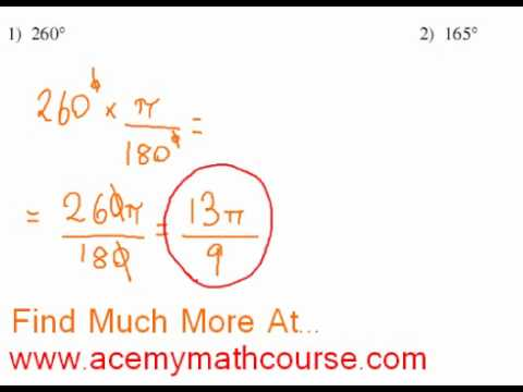 Trigonometry - Degrees to Radians Conversion (Part 1)