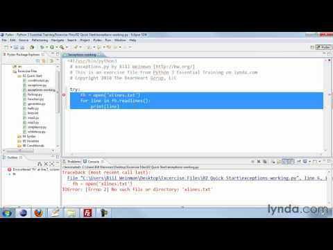 How to handle errors in Python | lynda.com tutorial
