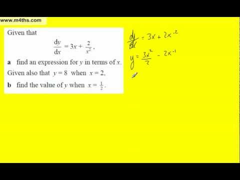 (7) Core 1 Integration finding the constant of integration (part 3 harder examples)