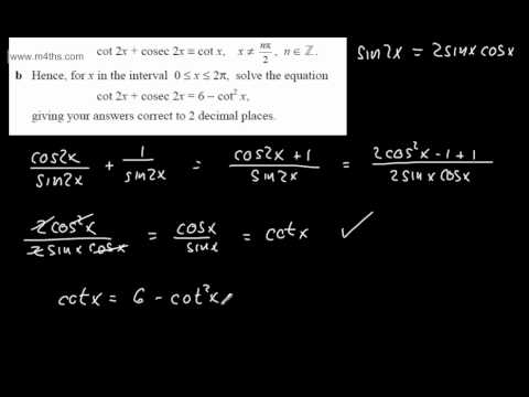 (3) Exam Questions Core 3 Trig (double angle identity and equation)