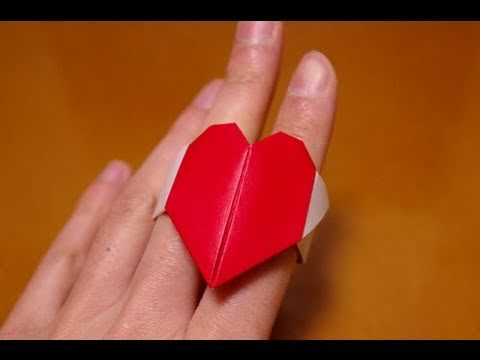 origami valentine heart ring