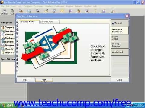 QuickBooks 2005-2003 Tutorial Using the EasyStep Interview Intuit Training Lesson 2.3
