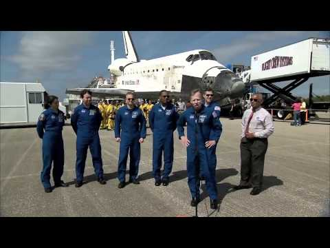 NASA Administrator Greets Discovery Crew