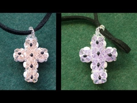 Beading4perfectionists: Double sided Swarovski cross pendant beading tutorial