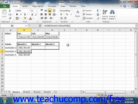 Excel 2010 Tutorial Creating 3D Range References Microsoft Training Lesson 12.3