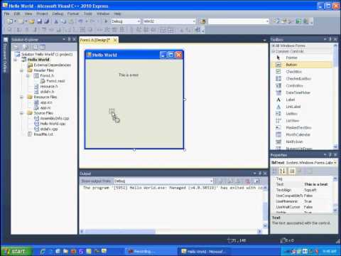 Visual C++ 2010 Express Tutorial 1 - Getting Started Hello World Free Download