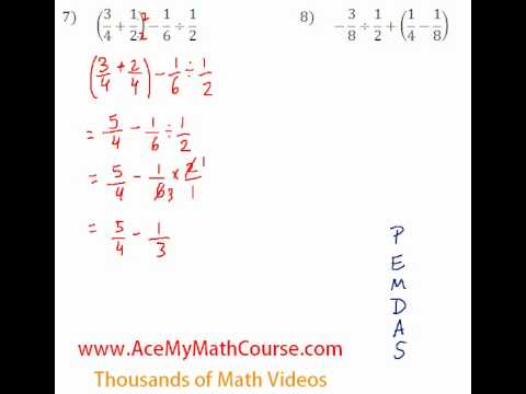 Basic Algebra - Fraction Operations #7-8