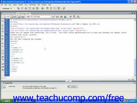 HTML Tutorial Inserting a Table Training Lesson 9.1