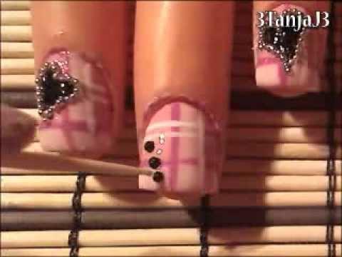 *Pink Plaid & Black Hearts* Nail Art Design For Short Nails