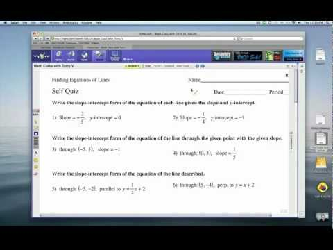 How to Find Equations of LInes: Self Quiz