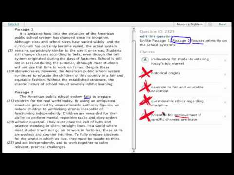 """Grockit SAT Reading """"Work-That-Question"""" sample question (7)"""