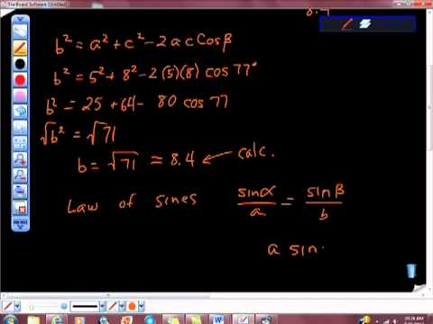 Law of Cosines SAS Example Geometry Trigonometry