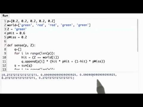 Test Sense Function Solution - CS373 Unit 1 - Udacity