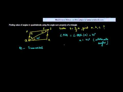 Finding value of angles in quadriaterals using the angle sum property of a triangle