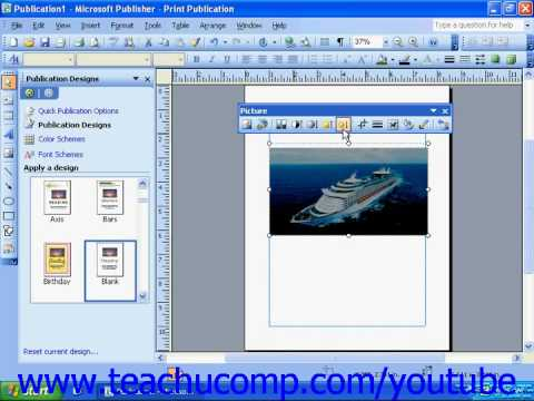 Publisher 2003 Tutorial Using the Picture Toolbar Microsoft Training Lesson 7.5